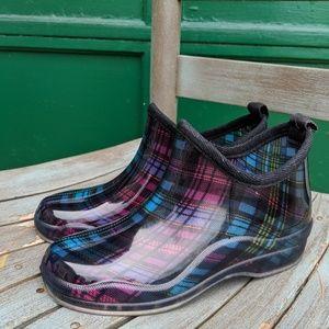 Capelli New York Plaid Multi Short Rain Boots 6M
